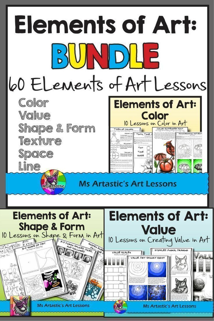60 Lessons on the 7 Elements of Art for your Middle School and High School students! Students will learn and create artworks for color, value, shape & form, line, texture, and space! Teach the Elements of Art to your Middle School or High School Class. 60