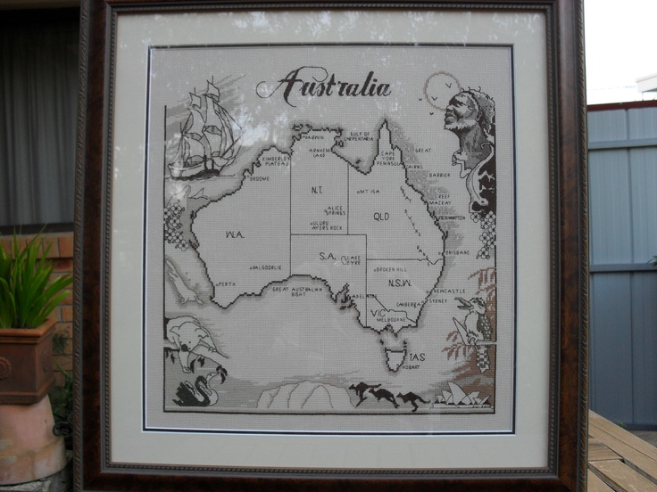 Counted Cross Stitch of visual map of Australia, all done in browns