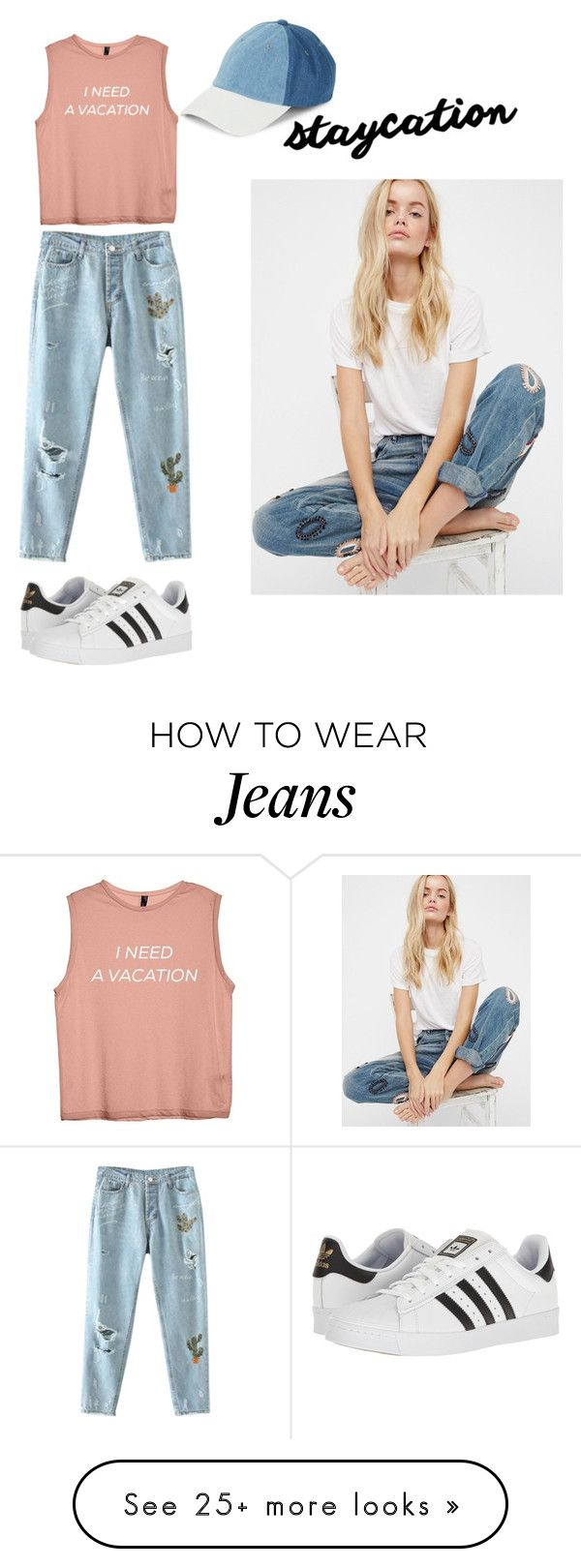 """""""staycation"""" by mystyle1234 on Polyvore featuring adidas, Steve Madden and Free People"""