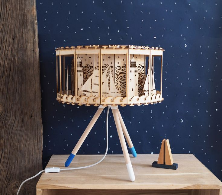 Nautical Decor Carousel Table Lamp Baby shower Gift Idea Lamp DIY for Nursery Room Lighting Lighthouse decor by SmagaPaperwood on Etsy https://www.etsy.com/listing/497925216/nautical-decor-carousel-table-lamp-baby
