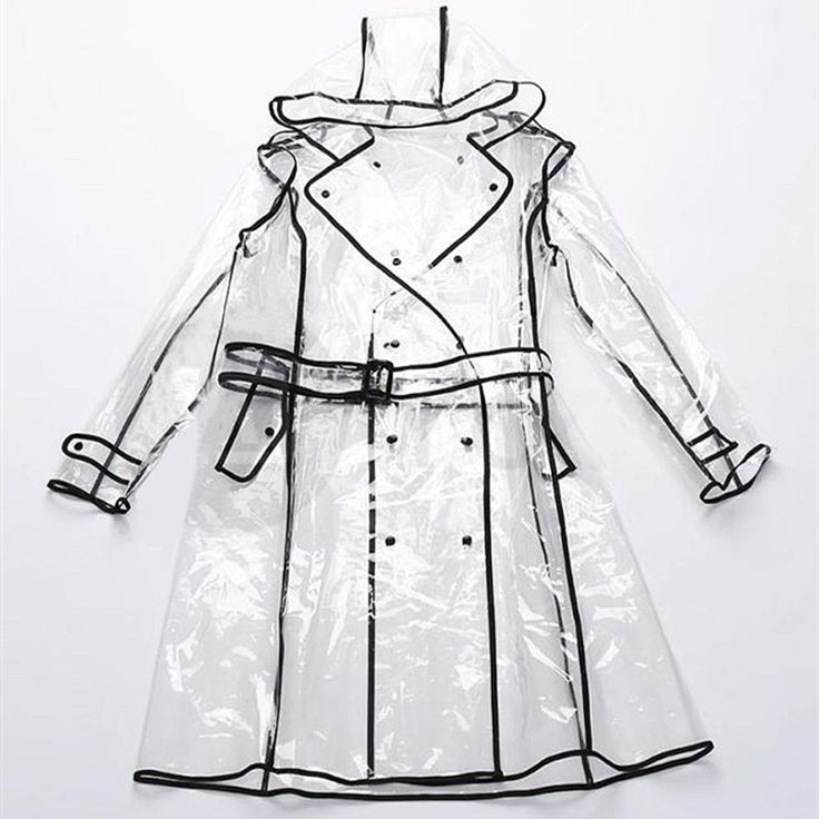 Hot Sale Transparent Waterproof EVA Vinyl Poncho  Raincoat Runway Style #S Womens Girls Clear Fashion Rain Coat Travel Equipment