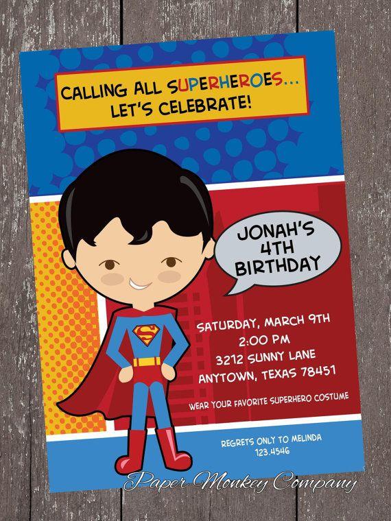 Top 26 best Superhero Birthday Invitations images on Pinterest  PR54