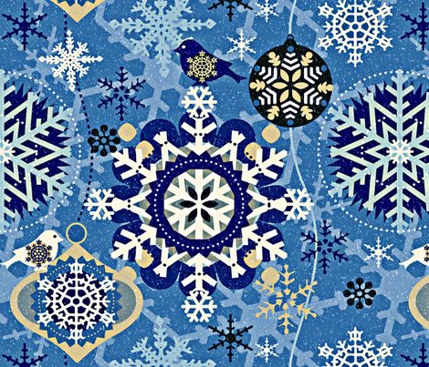 snowflakes in garden blue fabric by chicca_besso on Spoonflower - custom fabric