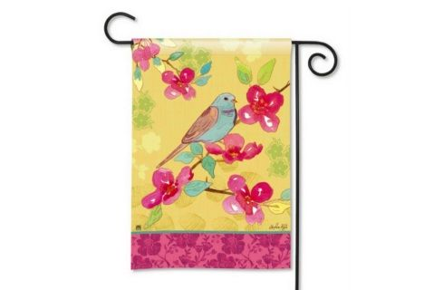Songbird Garden Flag.  A perfect welcome to Spring, a bright songbird on a floral stem.  Made of our exclusive SolarSilk® 600 denier polyester for greater durability, yet they have a softer, silkier feel for better drape and movement. Fade and mildew resistant.  ​