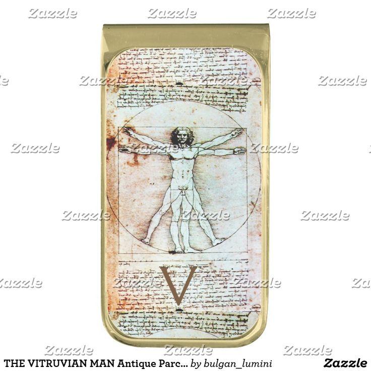 THE VITRUVIAN MAN Antique Parchment Monogram Gold Finish Money Clip #fashion #architect #leonardodavinci #medical #scientist #body
