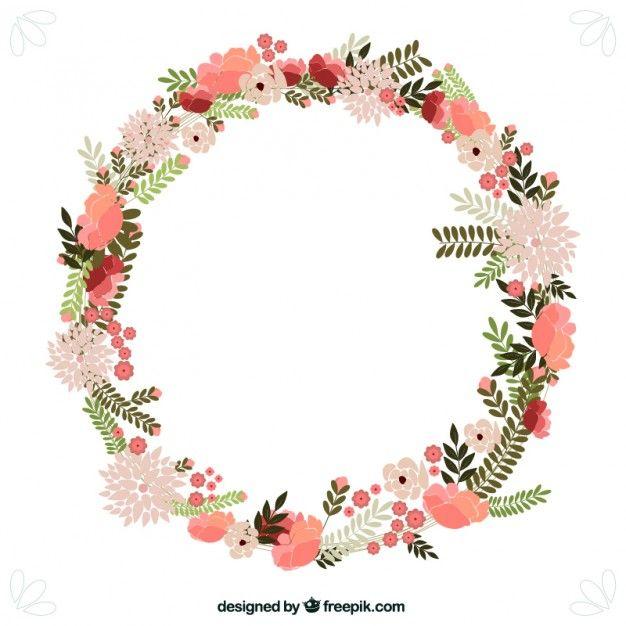 Corona de flores primaverales Vector Gratis