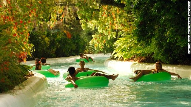 Adventure Island in Tampa, Florida, Rambling Bayou ride (shown here). This half-mile tube ride tours a rain forest.