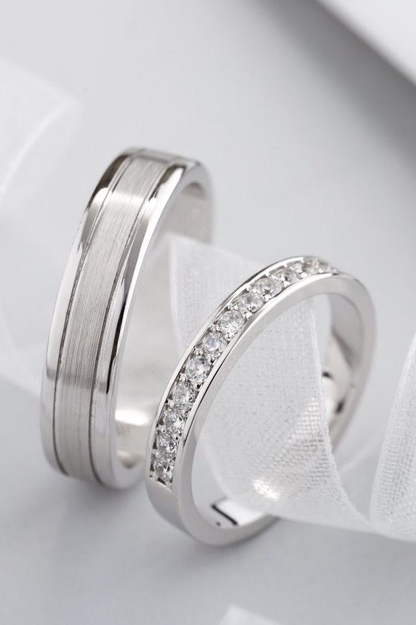 White Gold Wedding Bands With Natural Diamonds Couple Rings Etsy Couple Wedding Rings White Gold Wedding Rings Diamond Wedding Bands