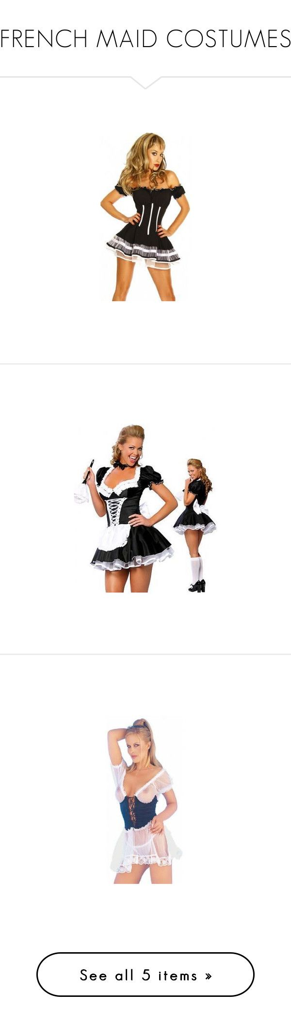 """""""FRENCH MAID COSTUMES"""" by lingeriehypermarket ❤ liked on Polyvore featuring costumes, sexy maid halloween costume, fancy halloween costumes, black halloween costumes, maid costume, maid halloween costume, french maid costume, sexy maid costume, black and white costume and sexy wench costume"""