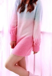 Wholesale Gradient Rainbow Color Long Knitted Cotton Sweaters