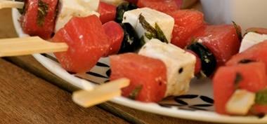 Pastèque à la grecque en brochettes  recettes mini-brochettes…