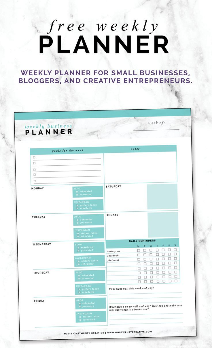 FREE WEEKLY PLANNER FOR SMALL BUSINESSES, BLOGGERS, AND CREATIVE ENTREPRENEURS. Plan out your week with this efficient planner. Includes goals for week, blog post planning, social media planning, daily reminders, and more.