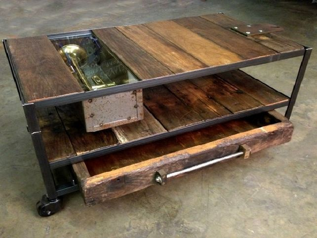 Rustic metal and wood coffee table with wheels custom industrial loft pinterest wood Rustic wood and metal coffee table