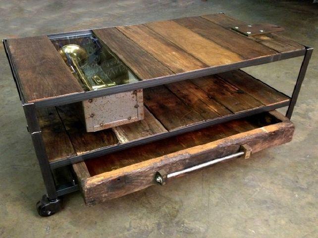 Rustic Metal and Wood Coffee Table with Wheels Custom