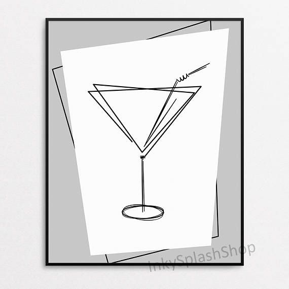 Cocktail glass print by InkySplashShop on Etsy. Modern Geometric wall art. Minimalist Scandinavian kitchen decor. Dining room wall decor. Alcohol Drink poster printable. Printable wall art with stylized cocktail/ martini glass.