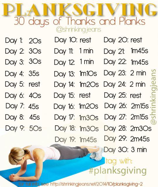 Planksgiving: Do Planks, Give Thanks {monthly workout calendar} #planksgiving #planks #fitnesscalendar