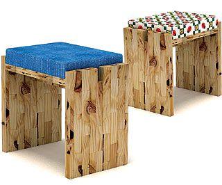 Banquetas de madeira sustentável, lindas!