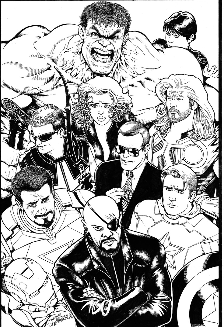 Kevin Maguire original mission featuring the movie version of The Avengers in…