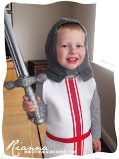 Simple Knight's costume for St George's day. Made from a tea towel and flannels.