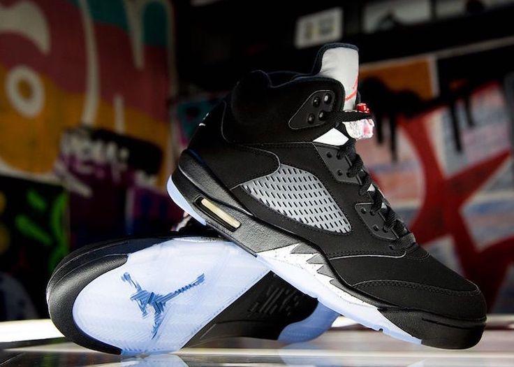 Nike Air Jordan 5 OG Black Metallic Silver 2016 Release Date. Air Jordan 5  OG Black Metallic Silver Fire Red 2016 returns with Nike Air branding in