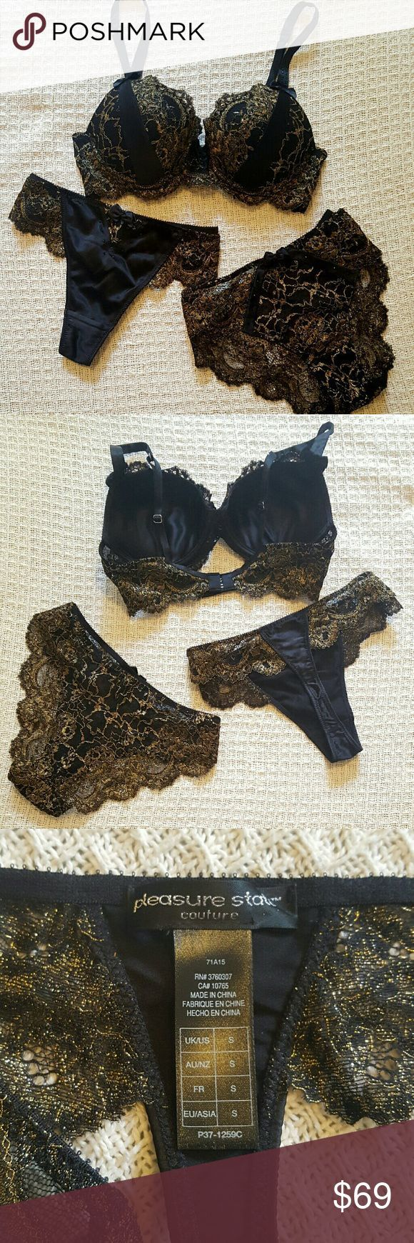 Stunning Couture Black/Gold Lingerie Set Couture Lingerie Set in elegant black satin and gold lace. Gorgeous black crystal details. Fully lined. NWOT. Pleasure State Intimates & Sleepwear Bras - lingerie fine, lingerie catalog, ensemble lingerie *sponsored https://www.pinterest.com/lingerie_yes/ https://www.pinterest.com/explore/lingerie/ https://www.pinterest.com/lingerie_yes/bbw-lingerie/ http://us.topshop.com/en/tsus/category/clothing-70483/lingerie-2313852
