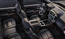 Photo showing the 2017 Sierra 1500 Denali light-duty truck's exceptionally quiet interior cabin.