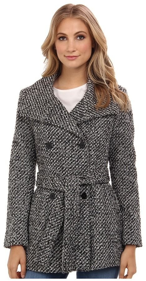 Calvin Klein Double Breasted Belted Basket Weave City Tweed Coat CW380102