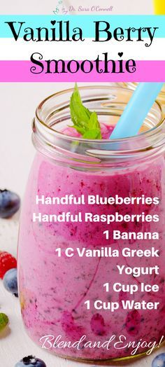 Simple and delicious Vanilla Berry Smoothie perfect for summer or when you just need a little more healthy cheer! Handful of fresh or frozen blueberries and raspberries, 1 banana, 1 Cup vanilla greek yogurt, ice, water- blend and enjoy! Repin to share with your friends and click on the image for my free family friendly grocery list!