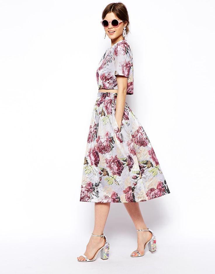 ASOS salon jacquard floral top and skirt