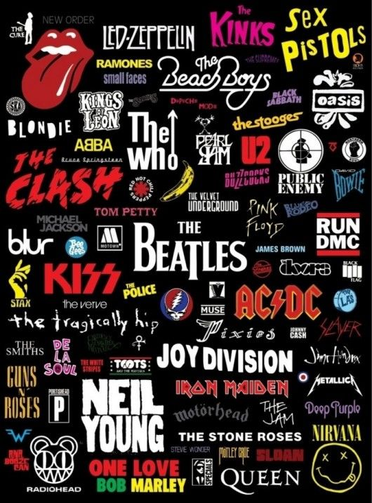 This picture names a load of different bands which sing all different types of music such as Rock, punk, indie, new wave, reggae, jam, hip hop and metal, Jumanji also fit into one of these categories.