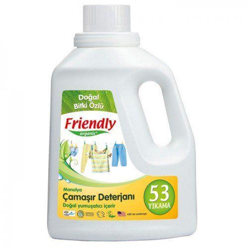 Friendly Organik Hassas Ciltler İçin Çamaşır Deterjanı Manolyalı 1,57L (53 yıkama) 36.50TL Cruelty Free (Hayvanlar Üzerinde Test Edilmemiştir) ECO Control Ekolojik Sertifikalı Vegan (Hayvansal hammade içermez) Ultra konsantre çamaşır deterjanı bebeklerin hassas cildine uygun olarak tasarlanmıştır. Dengeli pH değeri ile çamaşırları hassasça temizler ve kolayca durulanır.