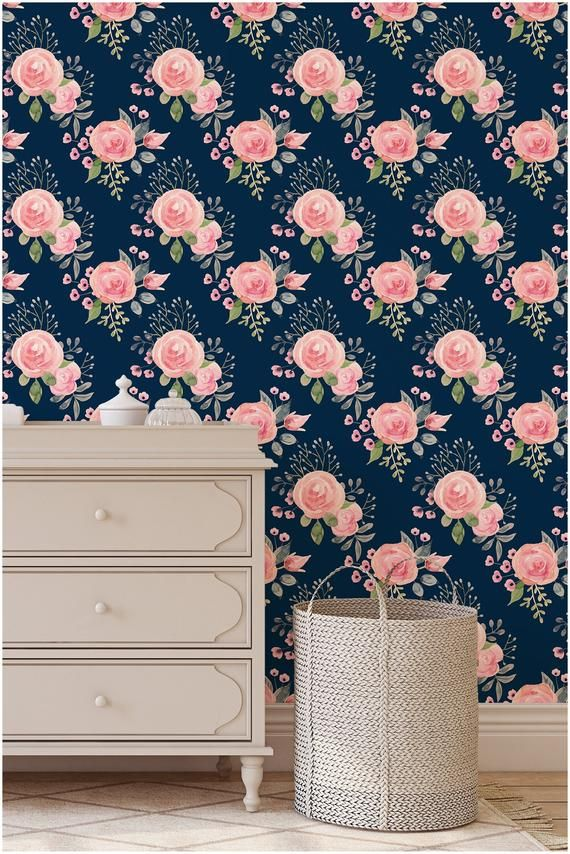 Peel And Stick Wallpaper Removable Floral Nursery Navy Etsy Floral Nursery Peel And Stick Wallpaper Girls Nursery Floral