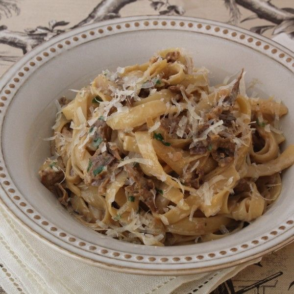 Fettuccine in a Porcini Mushroom Cream Sauce