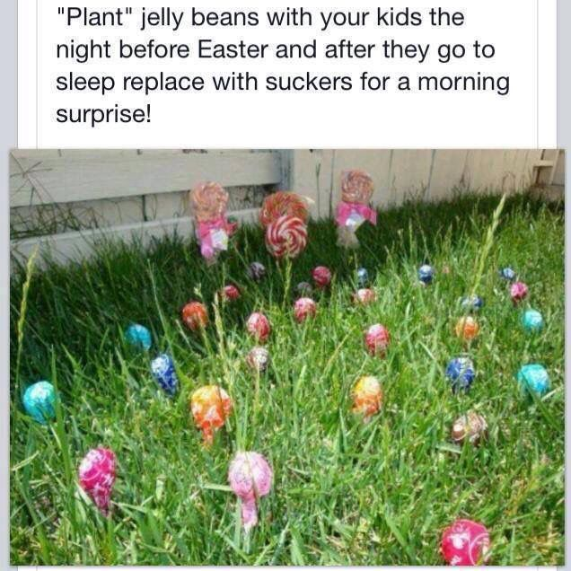 "From ""Coffee and a Stroller"" on Facebook, an Easter tradition for young children. Plant jelly beans to be replaced by the Easter Bunny."