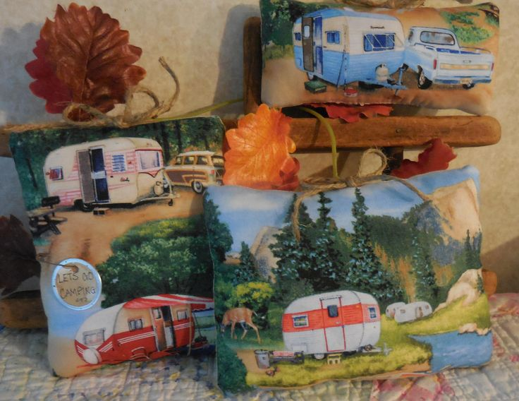 Primitive RV Camping Pillows Retro Trailer Camper Motor Home Gift Idea by #auntiemeowsprims on Etsy