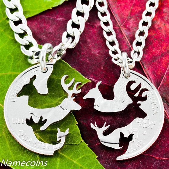 Buck and Doe family Necklace, Deer with Children, Hunting Jewelry, Baby Buck and Doe, Interlocking Love Quarter,s hand cut coin on Etsy, $59.99
