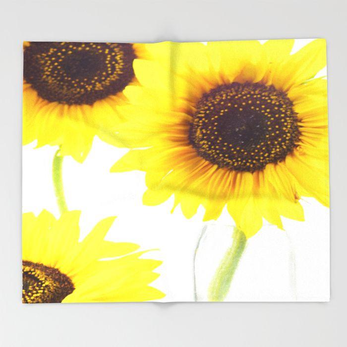 Three Sunflowers  Throw Blanket