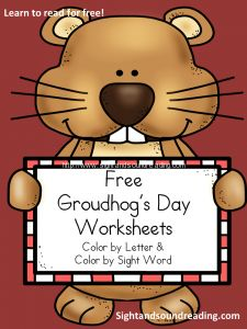 Free Groundhog's Day worksheets for preschool or kindergarten students.  Color by sight word/Color by letter - just in time for Feb. 2nd!