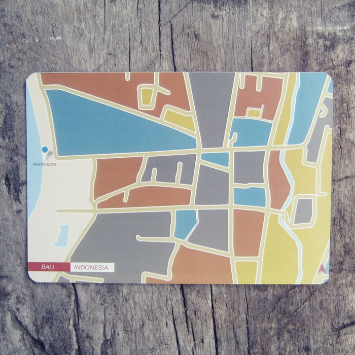 Postcard   Indonesian City Map Postcard Series   Bali - Indonesia