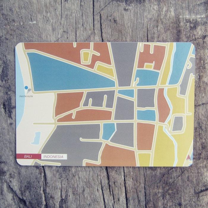 Postcard | Indonesian City Map Postcard Series | Bali - Indonesia