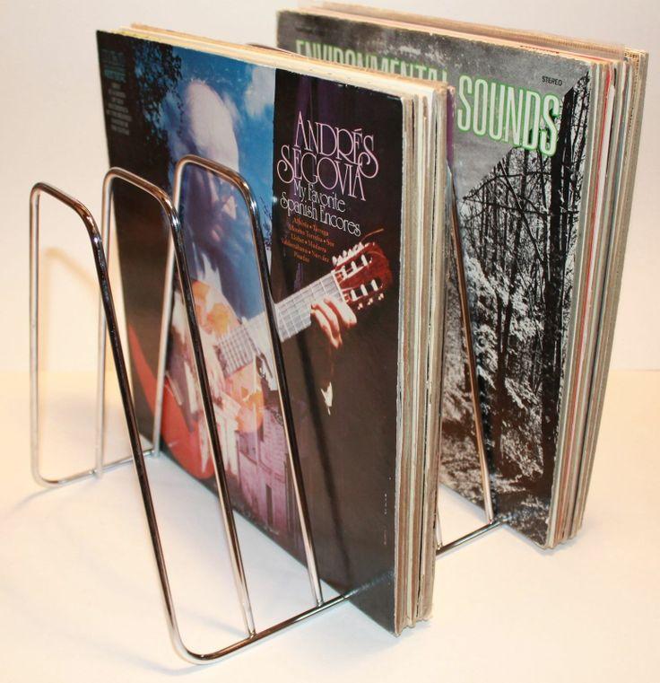 vintage 1960s lp vinyl record metal storage rack stand. Black Bedroom Furniture Sets. Home Design Ideas