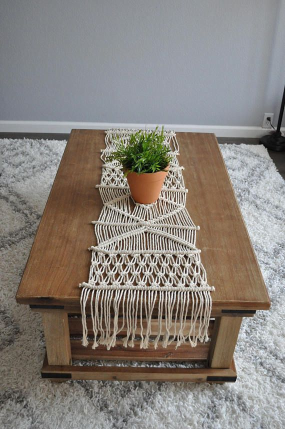 Handmade table runner made from 100% Cotton, natural ecru color. Perfect for a dining room, coffee table, or dresser. Your order will be replicated to this as closely as possible with some inevitable and very slight variation in the design, making your piece truly one-of-a-kind. Please