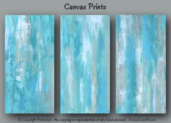 Large Abstract Wall Art For Teal Blue And Tan Home Or Office Decor By  Denise Cunniff