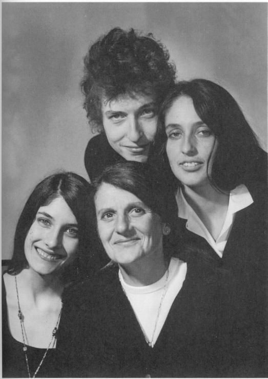 Mimi Baez, Joan Baez and their mother with Bob Dylan
