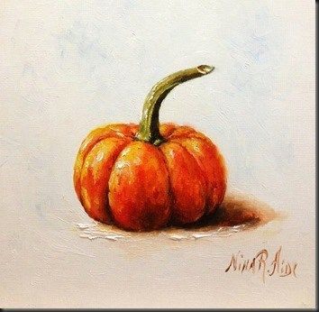 "Daily Paintworks - ""Little Pumpkin. Oil on canvas panel 6x6"" - Original Fine Art for Sale - © Nina R. Aide"