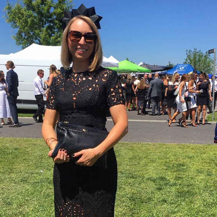 Our beautiful customer Linda looking stunning with her Audrey clutch styled with black lace at Derby Day today ♡