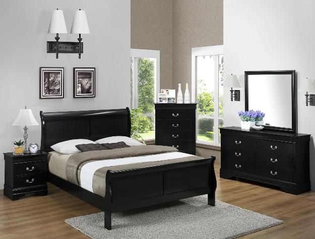 Black Louis Philip Bedroom Group Available In Twin, Full, Queen, And King T