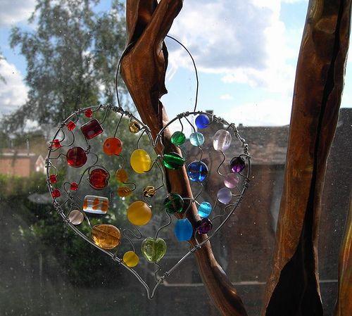 Big Hearted Rainbow - a beaded suncatcher by Sneddonia, via Flickr glass beads: http://www.ecrafty.com/c-2-glass-beads.aspx