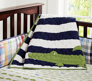 Alligator Madras Nursery Bedding #pbkids with no bumper. Just the navy, green and white color theme.