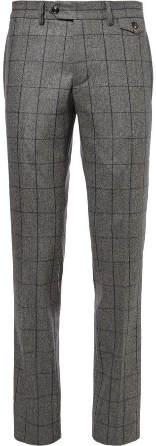 $695, Grey Gingham Wool Dress Pants: Michael Bastian Michl Bastian Grey Slim Fit Windowpane Check Wool Suit Trousers. Sold by MR PORTER. Click for more info: http://lookastic.com/men/shop_items/113228/redirect
